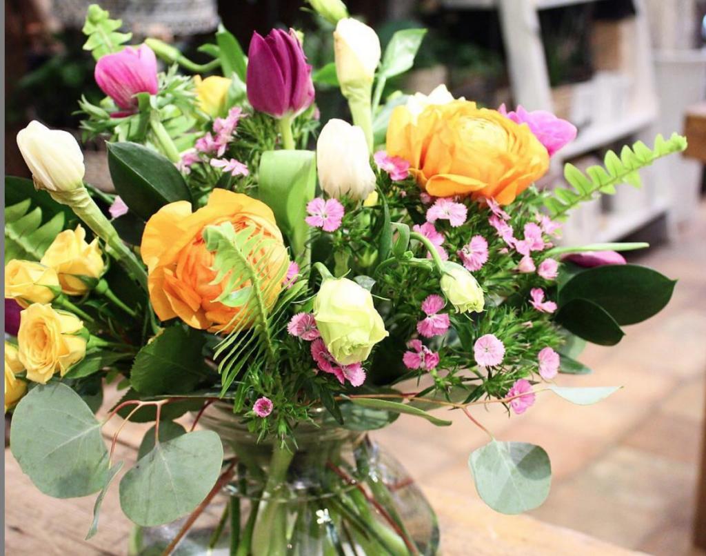 triadic coloured flowers