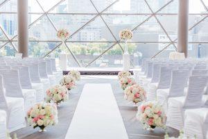 white aisle flowers