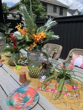 tropical table runner