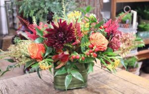 This arrangement has a beautiful mix of antique hydrangeas, free spirit roses, red leucadendron, red hypericum berries, burgundy astilbe, Ascelpia and deep burgundy dahlias with a mix of grevillea and Italian ruscus.