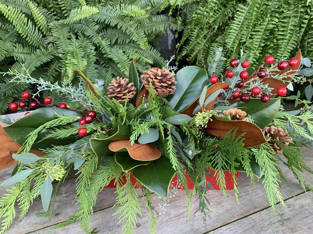 winter arrangement with pine