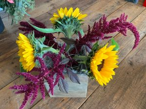 Amaranthus between the sunflowers and pointing out of arrangement