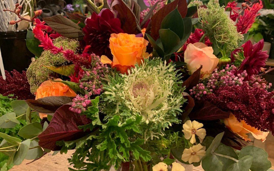 thanksgiving floral arrangement burgundy orange fall colours