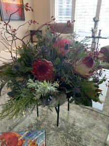 red protea centrepiece