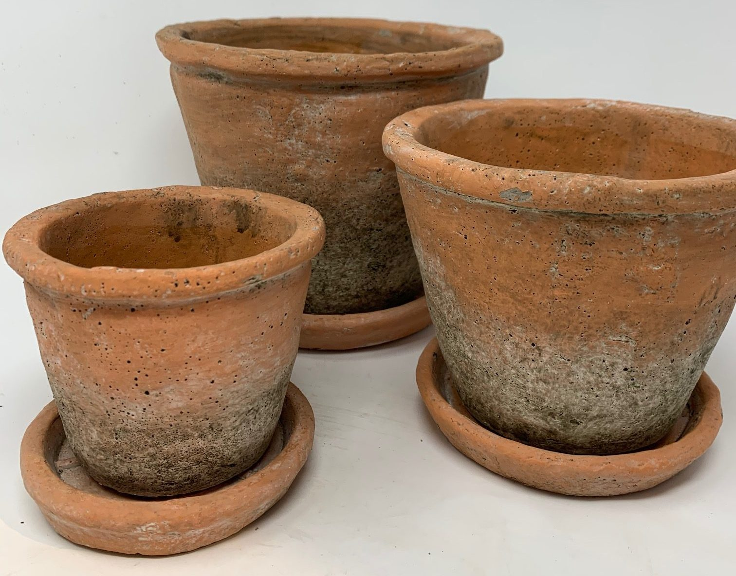 Aged Red Terracotta Pot and Saucer