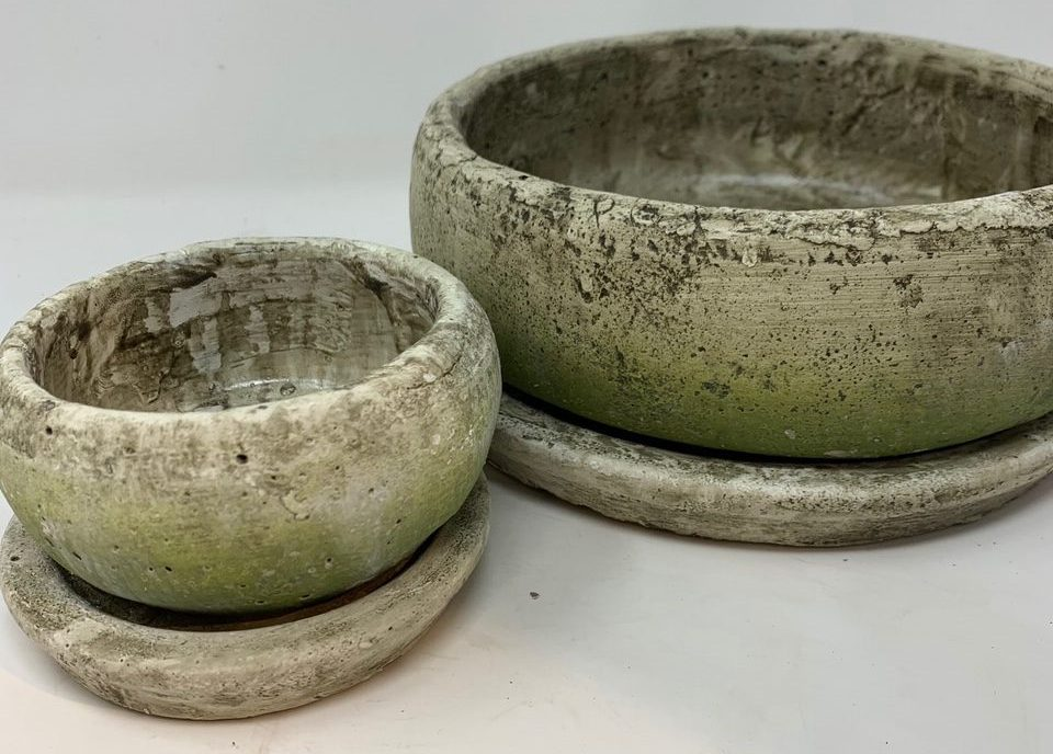 Ages White Terracotta Pot and Saucer