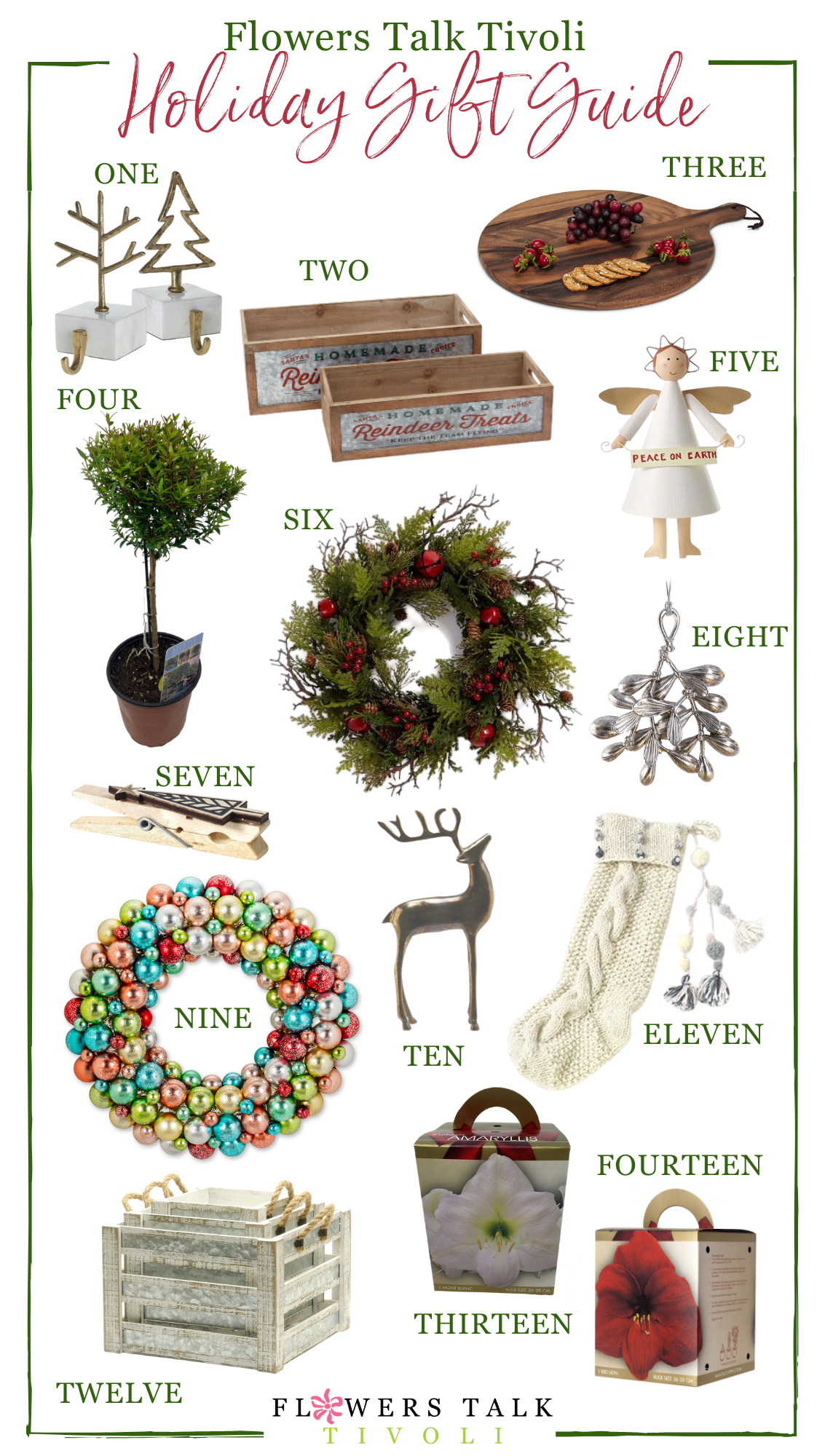 Various holiday decor items scattered across white background