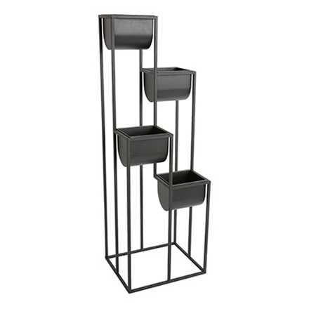 Tiered standing metal planter in a dark metallic grey, resembling stainless steel. Tall and beautiful to organize your plants