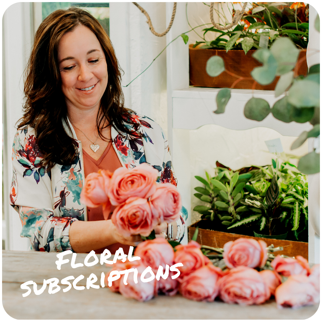 """Image of Elizabeth working with pink flowers, text overlay that says """"floral subscriptions."""""""